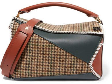 Puzzle Tweed And Leather Shoulder Bag - Emerald