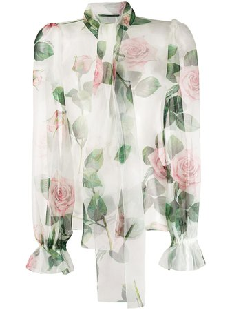 Dolce & Gabbana Floral Pussybow Blouse | Farfetch.com