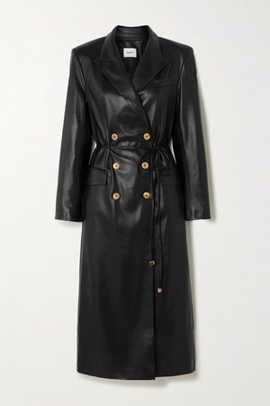 Black Malina belted vegan leather trench coat | Nanushka | NET-A-PORTER