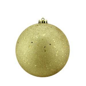 Northlight Shatterproof Vegas Gold Holographic Glitter Christmas Ball Ornament-31755944 - The Home Depot