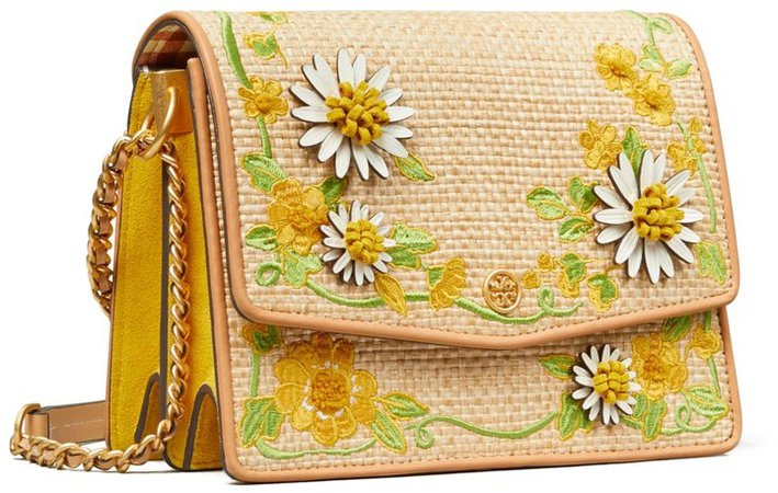 Robinson Embroidered Straw Convertible Shoulder Bag