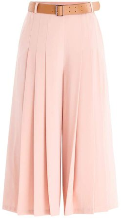 PAISIE - Culottes With Pleated Front & Wide Belt With Faux Leather Belt In Pink