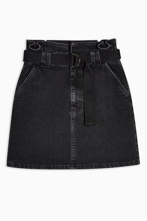Denim Paperbag Skirt Black shirt| Topshop