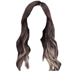 brown hair white/blonde streaks png