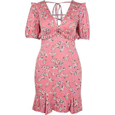 Pink V neck frill floral mini dress   River Island