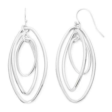 Liz Claiborne® Silver-Tone Orbital Oval Drop Earrings, Color: Silver Tone - JCPenney