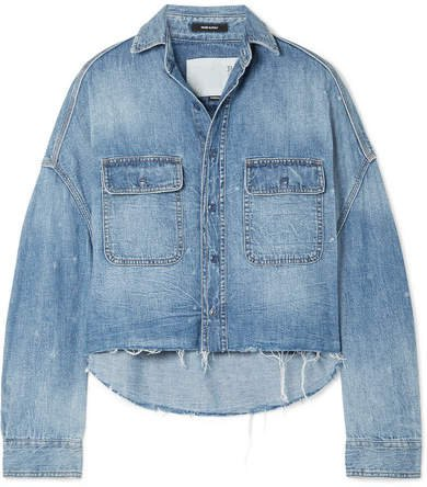 Oversized Cropped Distressed Denim Shirt - Mid denim
