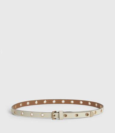 ALLSAINTS US: Womens Kristin Leather Belt (black)
