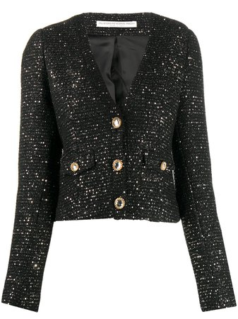 Alessandra Rich cropped sequin embellished jacket