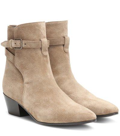 Saint Laurent - West Jodhpur 40 suede ankle boots   Mytheresa