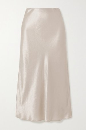 Leisure Washed-satin Midi Skirt - Cream