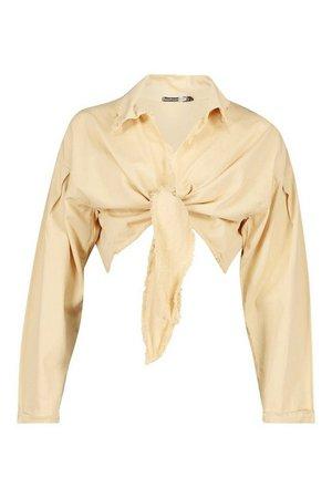 Tie Front Denim Shirt | boohoo