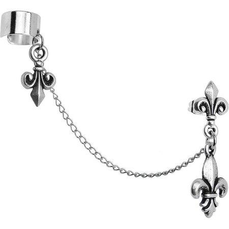 Handcrafted Fleur de Lis Ear Cuff Chain Earring