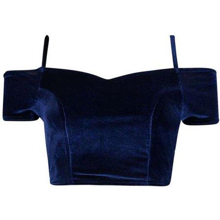 dark blue velvet off shoulder top