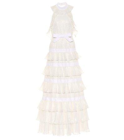 Silk-blend ruffle gown
