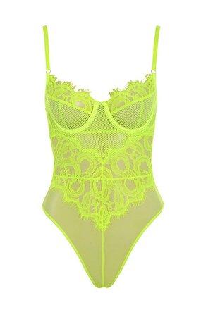 Intimates : 'Nadia' Neon Yellow Lace Bodysuit