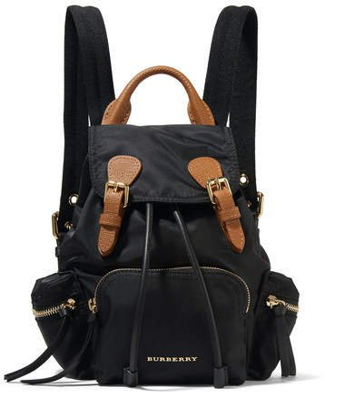 Small Leather-trimmed Gabardine Backpack - Black