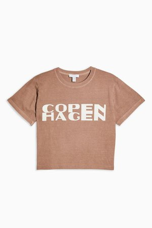 PETITE Copenhagen Shrunken T-Shirt | Topshop brown