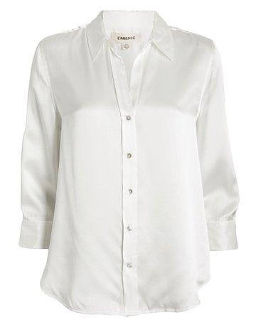L'Agence Dani Silk Button-Down Shirt | INTERMIX®