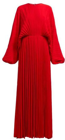 Pleated Silk Georgette Gown - Womens - Red
