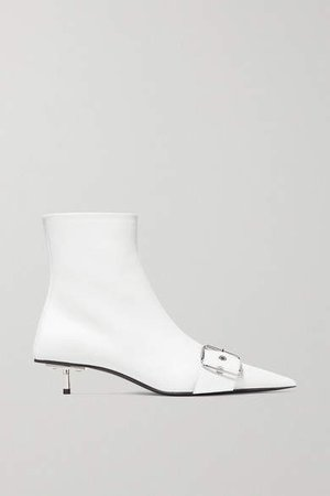 Belt Leather Ankle Boots - White