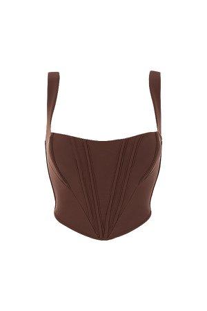 Clothing : Tops : 'Ninetta' Chocolate Mesh Corset