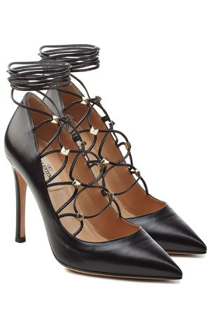 Leather Pumps with Embellished Ties at Ankle Gr. IT 36