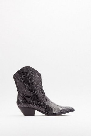Snake the Risk Faux Leather Western Boots | Nasty Gal