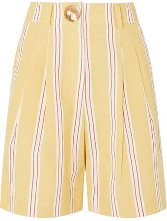 REJINA PYO - Renee Striped Cotton And Linen-blend Shorts - Pastel yellow
