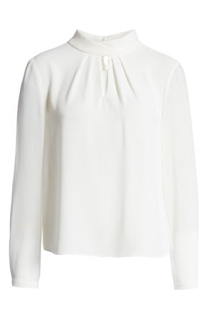 1.STATE Keyhole Neck Sheer Sleeve Blouse | Nordstrom