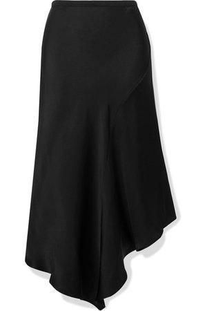 Anine Bing | Bailey asymmetric silk-satin midi skirt | NET-A-PORTER.COM