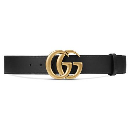 Leather belt with Double G buckle in Black leather | Gucci Women's Belts