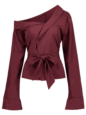 [41% OFF] 2019 Skew Neck Belted Long Sleeve Blouse In RED WINE S | ZAFUL