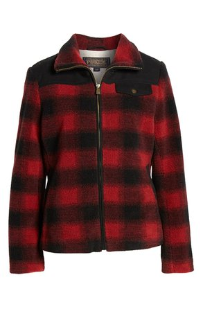 Pendleton Camas Water Resistant Plaid Fleece Coat red