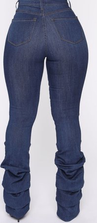 Dark Blue Washed Stacked Jeans