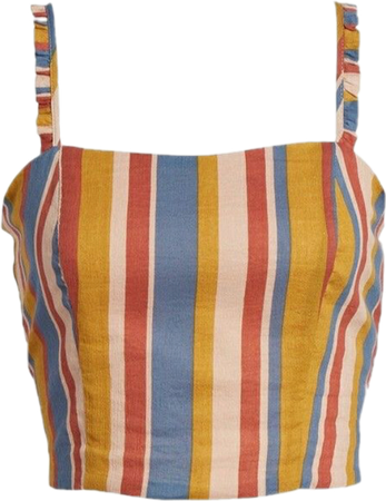 red, yellow, and blue striped tank top