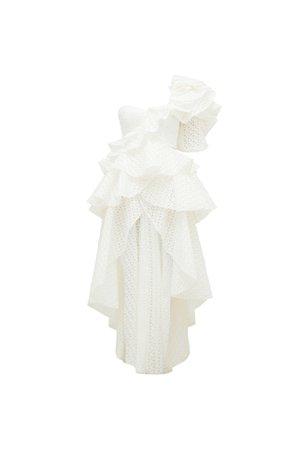 THURLEY - MARION RUFFLE DRESS white
