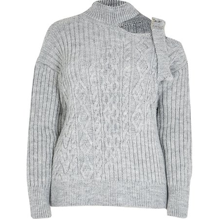 Grey marl chocker neck cable knitted jumper | River Island