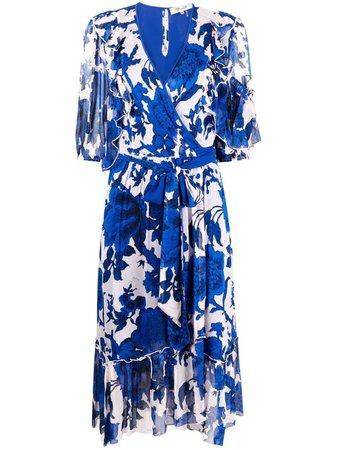 Shop blue & pink DVF Diane von Furstenberg floral-print wrap dress with Express Delivery - Farfetch