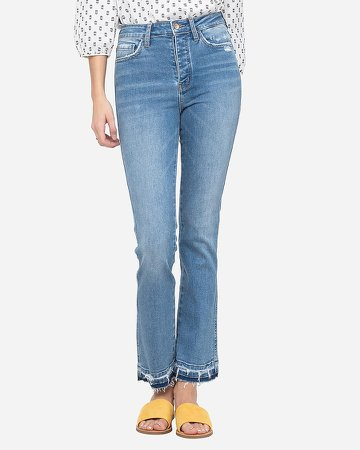 Flying Monkey High Waisted Button Fly Straight Jeans