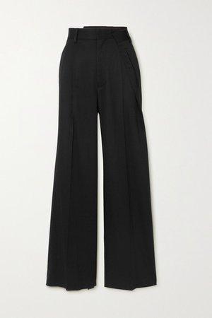 Pleated Twill Wide-leg Pants - Black