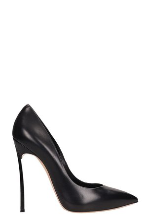 Casadei Blade Black Leather Pumps