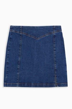Mid Stone Stretch Denim Pelmet Mini Skirt | Topshop