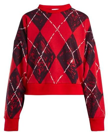 Charles Jeffrey Loverboy - Argyle Print Cotton Blend Sweatshirt - Womens - Red Multi