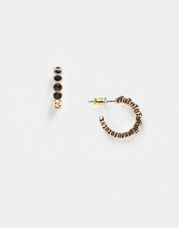 Topshop huggie hoop earrings with black stones | ASOS
