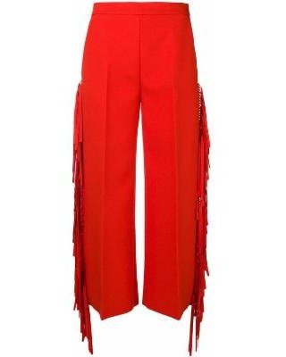 MSGM Fringed High-waisted Trousers - Red - MSGM Pants from Lyst | ShapeShop
