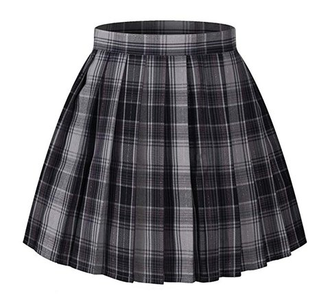 High Waisted Pleated Skirt - Grey Mixed Purple