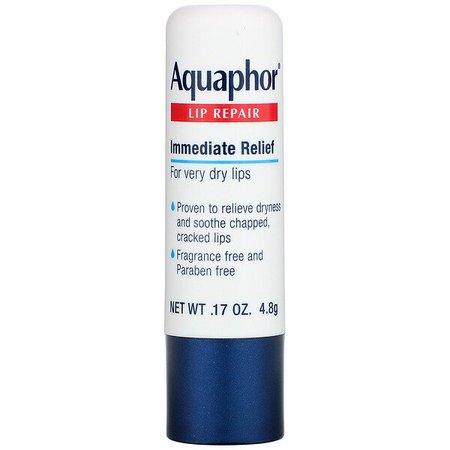 Aquaphor, Lip Repair, Stick, Immediate Relief, Fragrance Free, 1 Stick, .17 oz (4.8 g) - iHerb