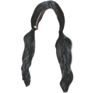 Black Hair Low Pigtail PNG