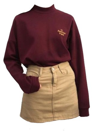Burgundy sweater with beige shorts